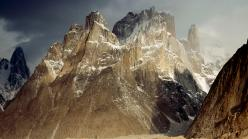 Trango Peaks after storm at dawn above Baltoro glacier, 6286 m. Karakoram mountains, Pakistan